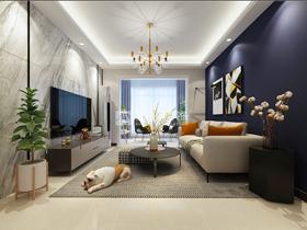 嘉和城布洛可103平客厅现代简约新利18全站效果图